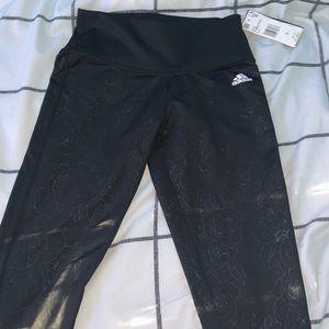 💟4 for 30💟 flower adidas leggings black